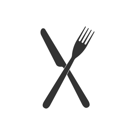 Crossed fork and knife icon isolated. Restaurant icon. Flat design. Vector Illustration Illustration