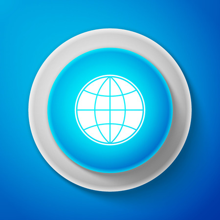 Earth globe icon isolated on blue background. World or Earth sign. Global internet symbol. Geometric shapes. Circle blue button. Vector Illustration