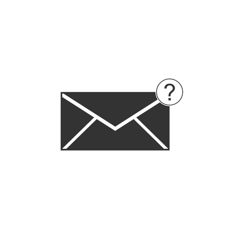 Envelope with question mark icon isolated. Letter with question mark symbol. Send in request by email. Flat design. Vector Illustration