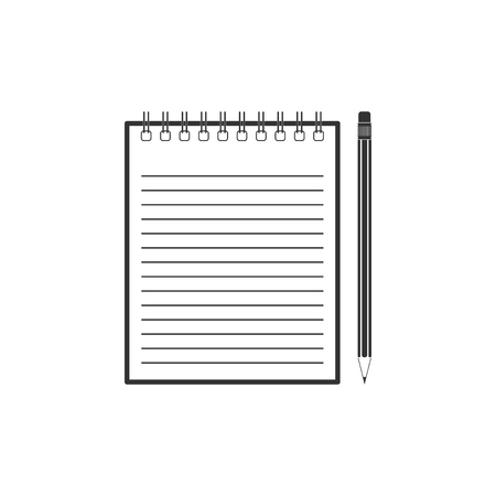 Blank notebook and pencil with eraser icon isolated. Flat design. Vector Illustration Çizim