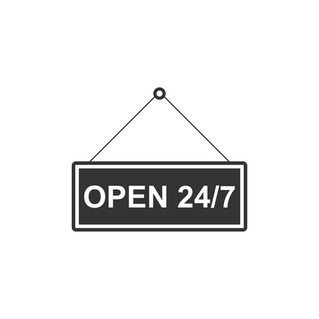 Hanging sign with text Open 247 hours icon isolated. Business theme for cafe or restaurant, club and bar. Flat design. Vector Illustration