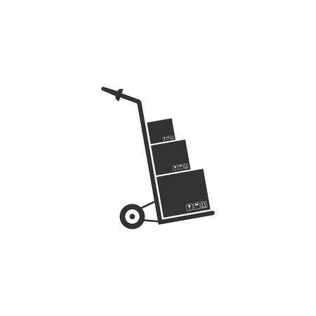 Hand truck and boxes icon isolated. Dolly symbol. Flat design. Vector Illustration Ilustração