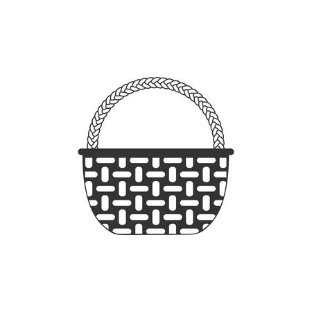 Wicker basket icon isolated. Flat design. Vector Illustration  イラスト・ベクター素材