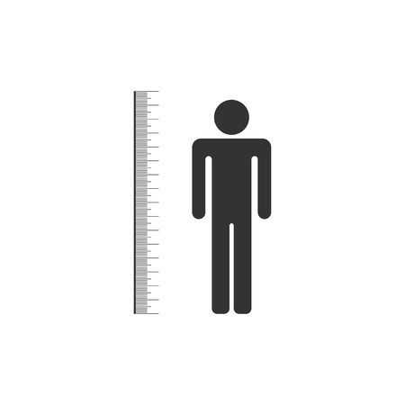 Measuring height body icon isolated. Flat design. Vector Illustration Illustration