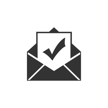Envelope with document and check mark icon isolated. Successful e-mail delivery, email delivery confirmation, successful verification concepts. Flat design. Vector Illustration