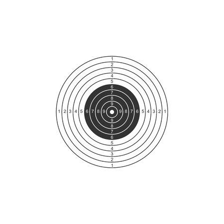 Target sport for shooting competition icon isolated. Clean target with numbers for shooting range or pistol shooting. Flat design. Vector Illustration Illustration