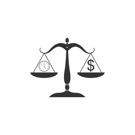 Scale weighing money and time icon isolated. Scales with hours and a coin. Balance between work and the given time. Business concept. Vector Illustration