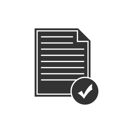 Document and check mark icon isolated. Checklist icon. Business concept. Flat design. Vector Illustration Çizim