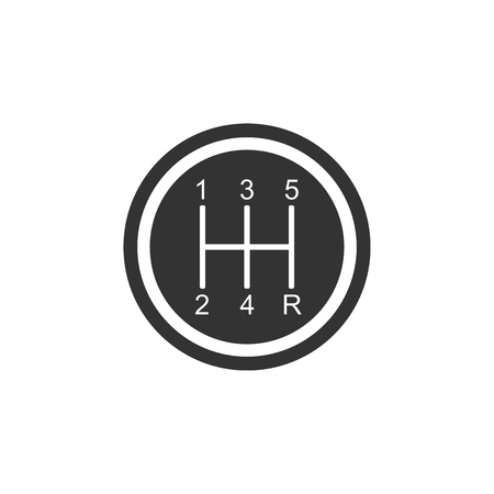 Gear shifter icon isolated. Transmission icon. Flat design. Vector Illustration