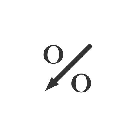 Percent down arrow icon isolated. Decreasing percentage sign. Flat design. Vector Illustration