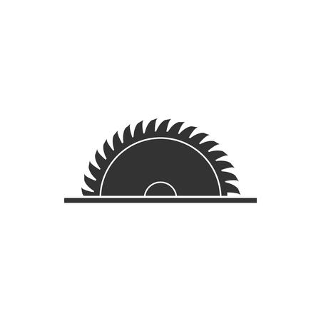 Icône de lame de scie circulaire isolée. Roue de scie. Conception plate. Illustration vectorielle Vecteurs