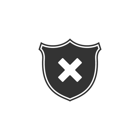Shield and cross x mark icon isolated. Denied disapproved sign. Protection and safety or security, reliability concepts. Flat design. Vector Illustration