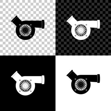 Automotive turbocharger icon isolated on black, white and transparent background. Vehicle performance turbo icon. Car turbocharger sign. Turbo compressor induction symbol. Vector Illustration