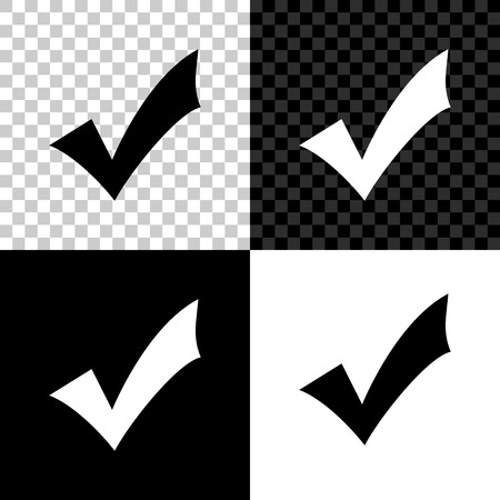 Check mark icon isolated on black, white and transparent background. Tick symbol. Vector Illustration