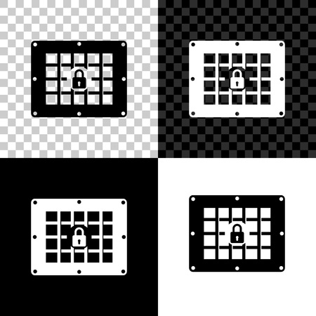 Prison window icon isolated on black, white and transparent background. Vector Illustration