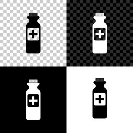 Medicine bottle icon isolated on black, white and transparent background. Bottle pill sign. Pharmacy design. Vector Illustration Archivio Fotografico - 125155252