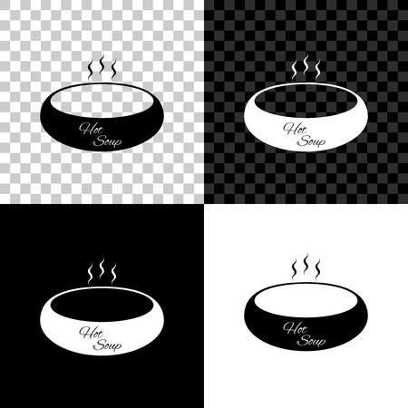 Bowl of hot soup icon isolated on black, white and transparent background. Vector Illustration