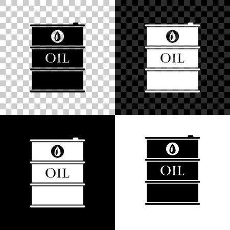 Oil barrel icon isolated on black, white and transparent background. Oil drum container. For infographics, fuel, industry, power, ecology. Vector Illustration
