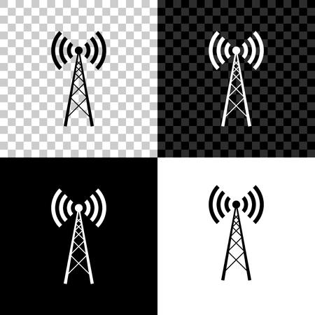 Antenna icon isolated on black, white and transparent background. Radio antenna wireless. Technology and network signal radio antenna. Vector Illustration Illustration