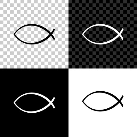 Christian fish symbol icon isolated on black, white and transparent background. Jesus fish symbol. Vector Illustration