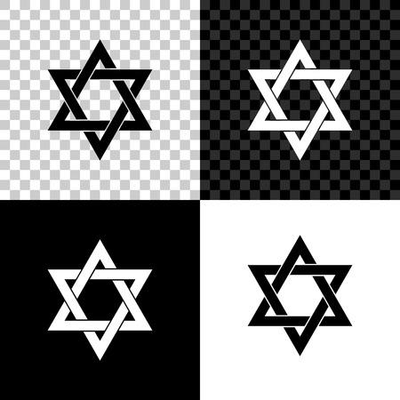 Star of David icon isolated on black, white and transparent background. Jewish religion symbol. Vector Illustration