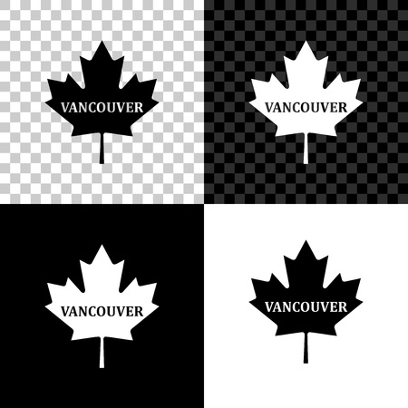 Canadian maple leaf with city name Vancouver icon isolated on black, white and transparent background. Vector Illustration Иллюстрация