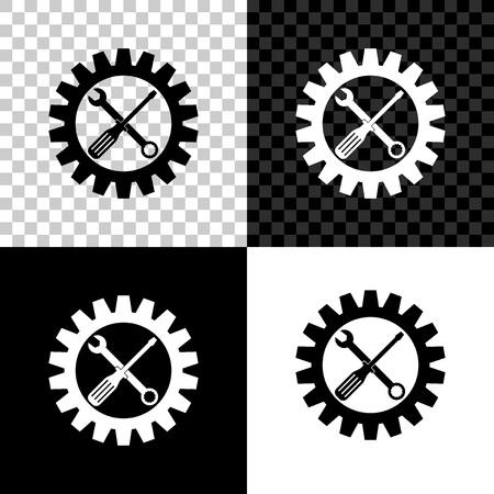Símbolo de mantenimiento - icono de destornillador, llave inglesa y rueda dentada aislado sobre fondo negro, blanco y transparente. Símbolo de herramienta de servicio. Icono de configuración. Ilustración vectorial