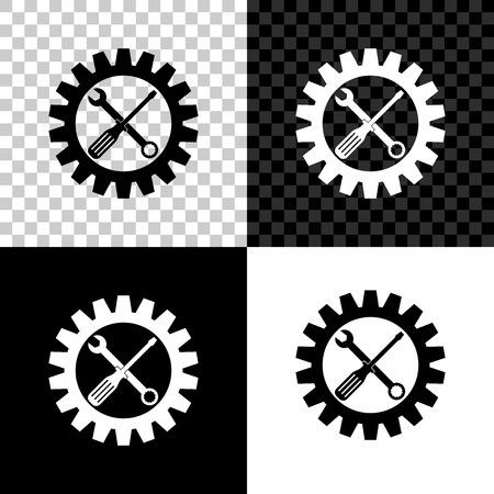 Symbole de maintenance - icône de tournevis, de clé et de roue dentée isolée sur fond noir, blanc et transparent. Symbole d'outil de service. Icône de réglage. Illustration vectorielle
