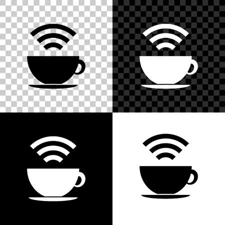 Taza de cafetería con icono de zona wifi gratuito aislado sobre fondo negro, blanco y transparente. Cartel de conexión a Internet. Ilustración vectorial
