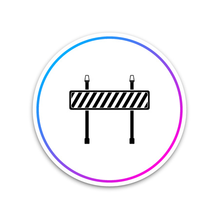 Road barrier icon on white background. Symbol of restricted area which are in under construction processes. Fence of building or repair works. Hurdle icon. Circle white button. Vector Illustration Stock Illustratie