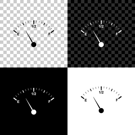 Motor gas gauge icon isolated on black, white and transparent background. Empty fuel meter. Full tank indication. Vector Illustration
