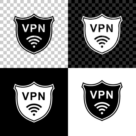 Shield with VPN and WiFi wireless internet network symbol icon on black, white and transparent background. VPN protect safety concept. Virtual private network for security. Vector Illustration