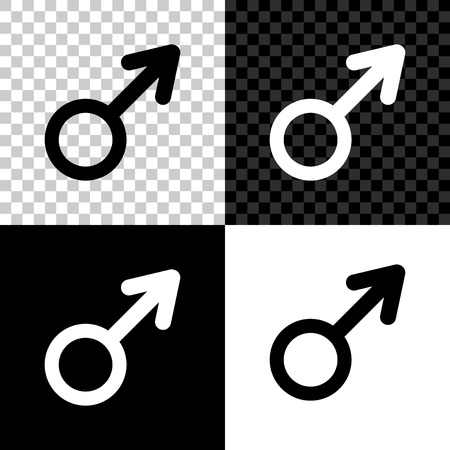 Male gender symbol icon isolated on black, white and transparent background. Vector Illustration
