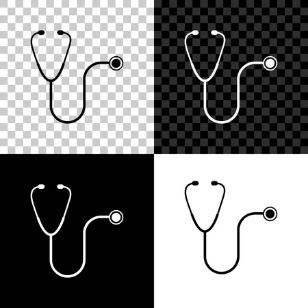 Stethoscope medical instrument icon isolated on black, white and transparent background. Vector Illustration Illustration