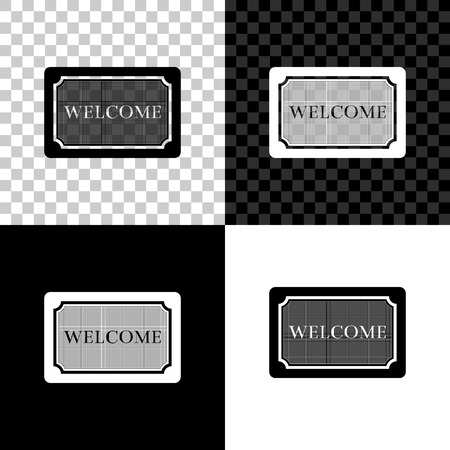 Doormat with the text Welcome icon isolated on black, white and transparent background. Welcome mat sign. Vector Illustration Ilustração