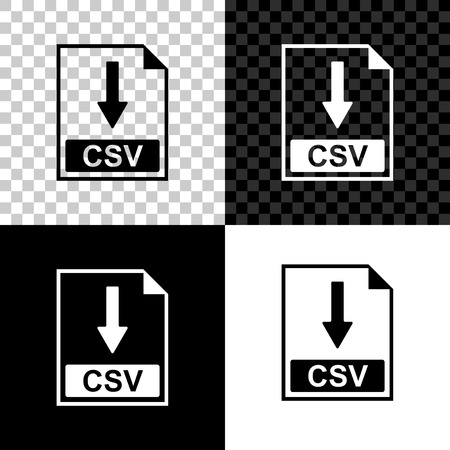 CSV file document icon. Download CSV button icon isolated on black, white and transparent background. Vector Illustration Ilustrace