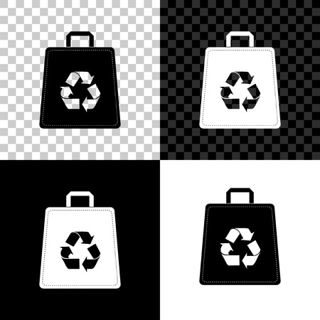 Paper shopping bag with recycle icon isolated on black, white and transparent background. Bag with recycling symbol. Vector Illustration Archivio Fotografico - 125155996