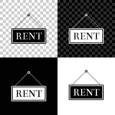 Hanging sign with text Rent icon isolated on black, white and transparent background. Vector Illustration