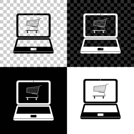 Online shopping concept. Shopping cart on screen laptop icon isolated on black, white and transparent background. Concept e-commerce, online business marketing. Vector Illustration