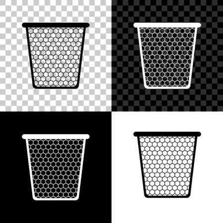 Trash can icon isolated on black, white and transparent background. Garbage bin sign. Recycle basket icon. Office trash icon. Vector Illustration Ilustração