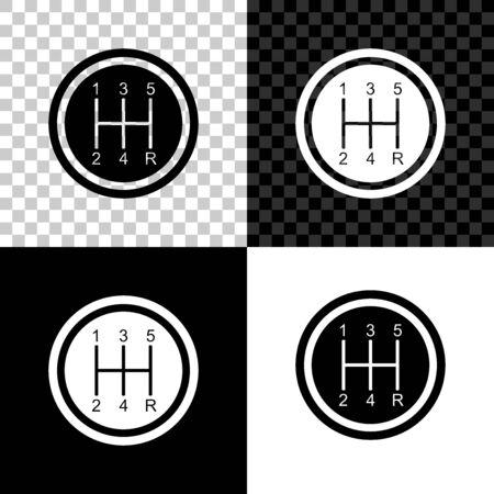 Icône de levier de vitesse isolé sur fond noir, blanc et transparent. Icône de transmission. Illustration vectorielle