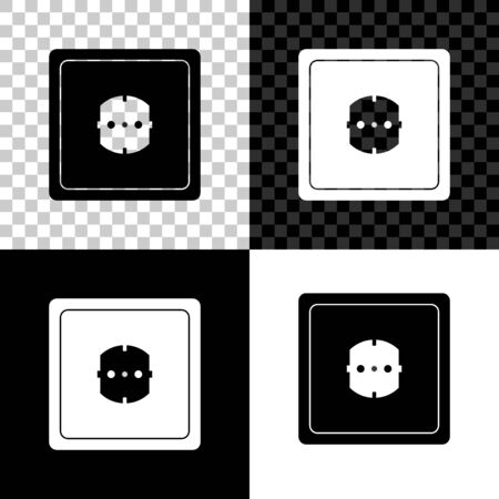 Electrical outlet icon isolated on black, white and transparent background. Power socket. Rosette symbol. Vector Illustration
