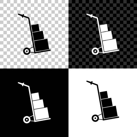 Hand truck and boxes icon isolated on black, white and transparent background. Dolly symbol. Vector Illustration Ilustração