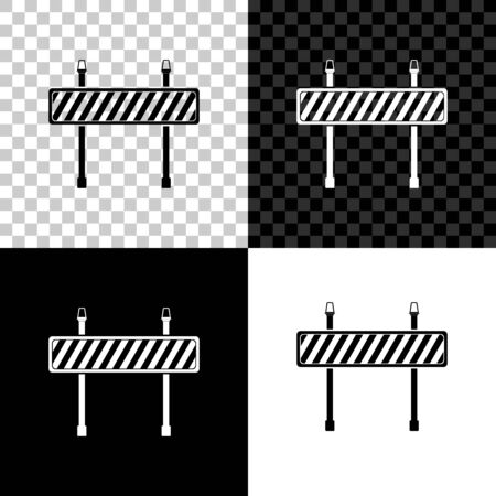 Road barrier icon on black, white and transparent background. Symbol of restricted area which are in under construction processes. Fence of building or repair works. Hurdle icon. Vector Illustration Çizim