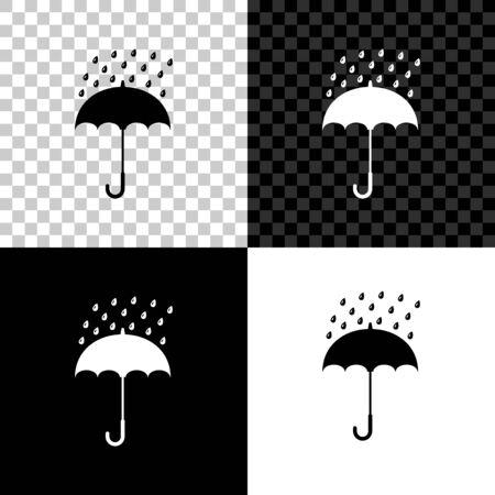 Ombrello e gocce di pioggia icona isolato su sfondo nero, bianco e trasparente. illustrazione vettoriale