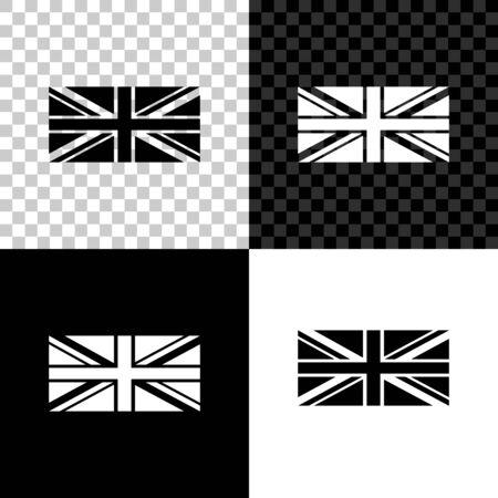 Flagge von Großbritannien-Symbol auf schwarzem, weißem und transparentem Hintergrund isoliert. UK-Flagge-Zeichen. Offizielles Flaggenzeichen des Vereinigten Königreichs. Britisches Symbol. Vektorillustration Vektorgrafik