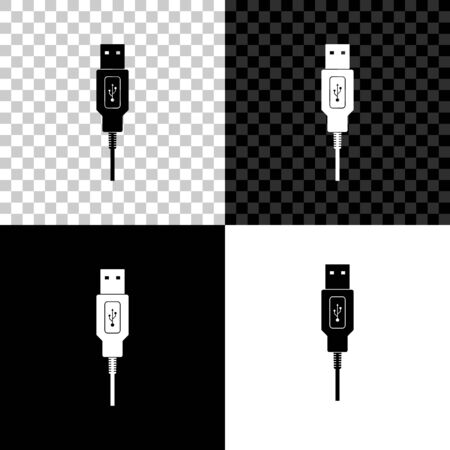 USB cable cord icon on black, white and transparent background. Connectors and sockets for PC and mobile devices. Computer peripherals connector or smartphone recharge supply. Vector Illustration