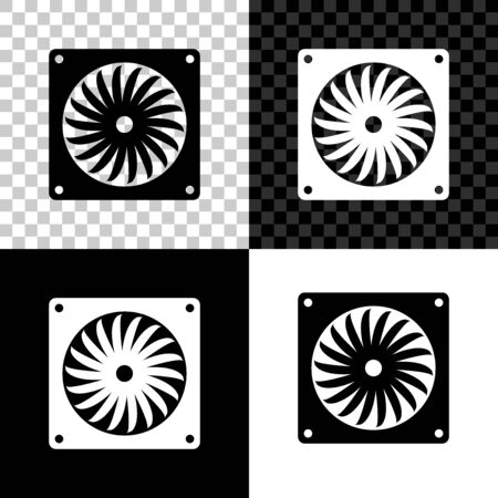 Computer cooler icon isolated on black, white and transparent background. PC hardware fan. Vector Illustration