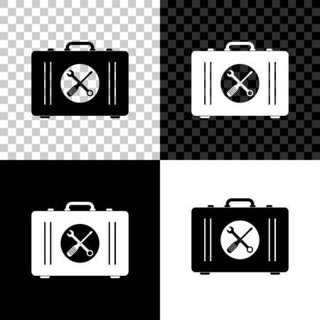 Toolbox icon isolated on black, white and transparent background. Tool box sign. Vector Illustration Ilustração