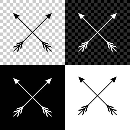 Crossed arrows icon isolated on black, white and transparent background. Vector Illustration